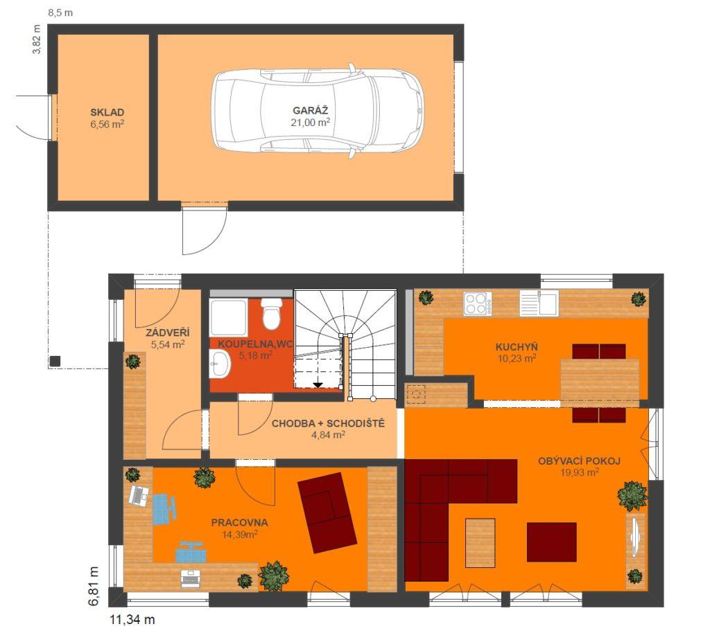 Montovaný dom Locus_113_B2 pôdorys prízemia
